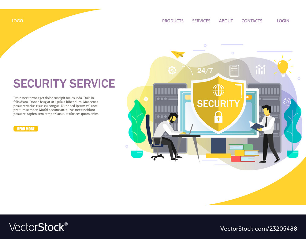 Online security services landing page website