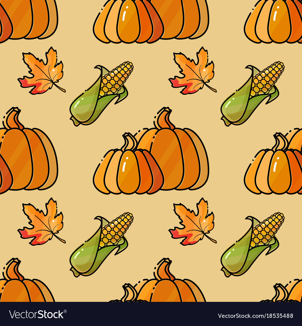Seamless pattern with corn pumkin and leaves