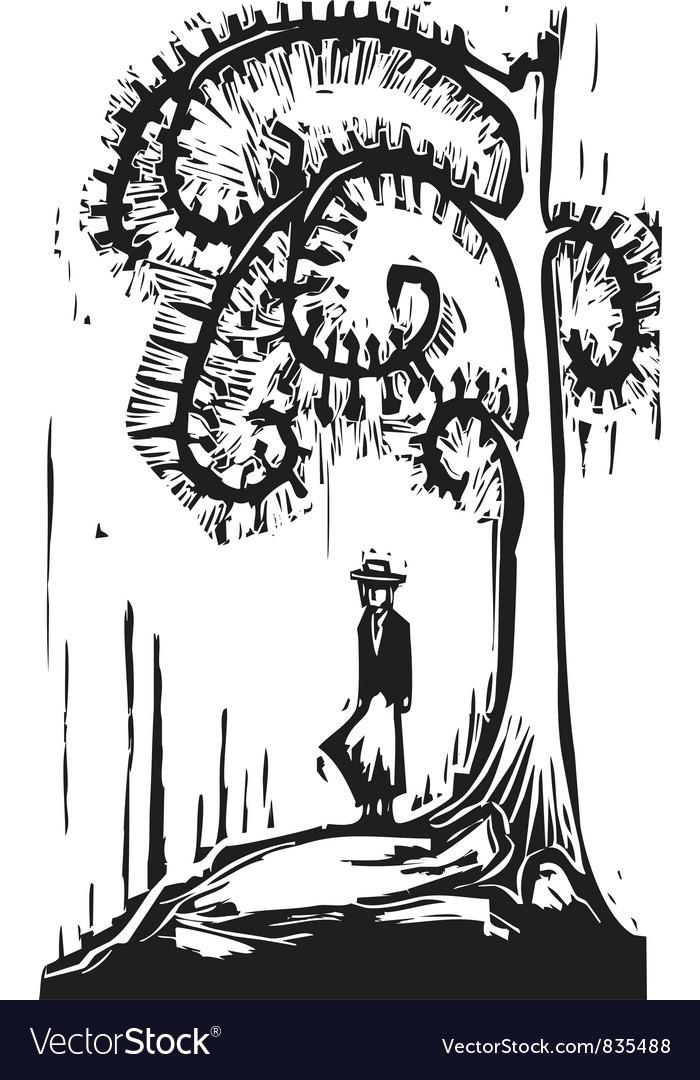 Spiral Tree Girl vector image