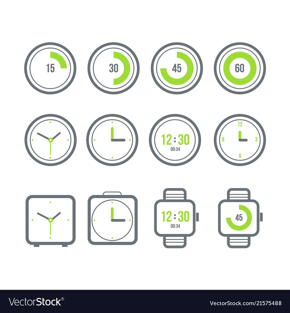 Timers set variety of the clock icons