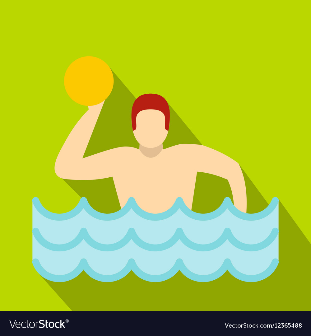 Water polo player in swimming pool icon flat style