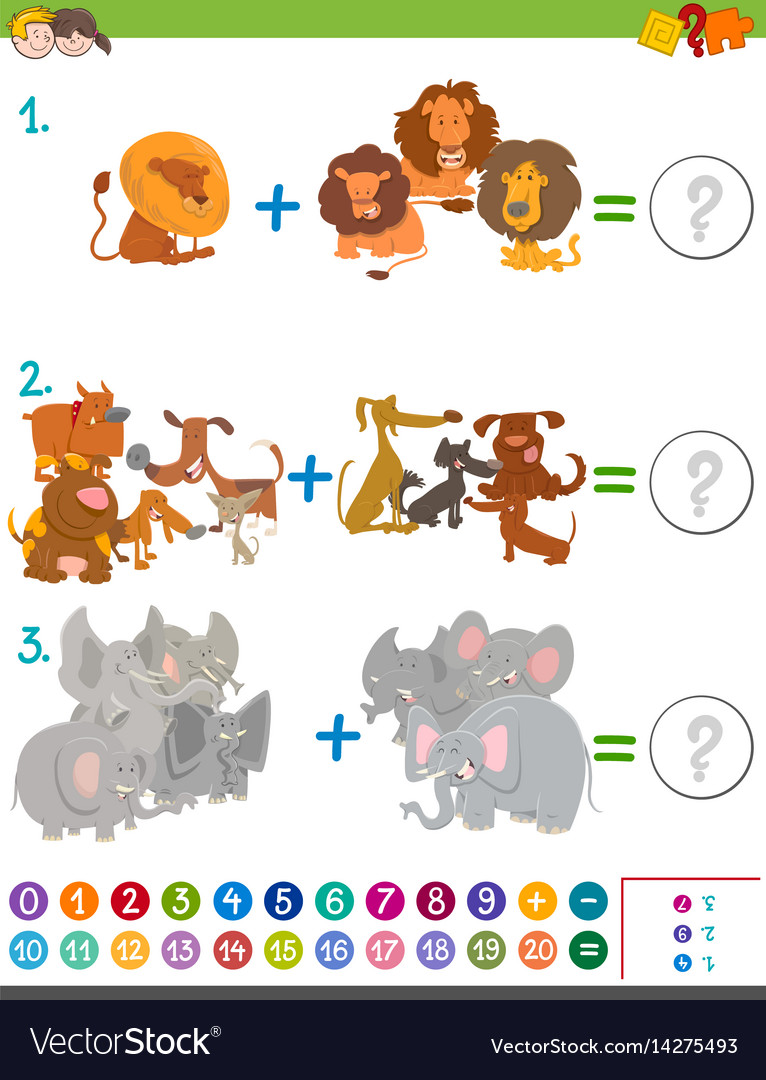 Addition maths activity for kids Royalty Free Vector Image