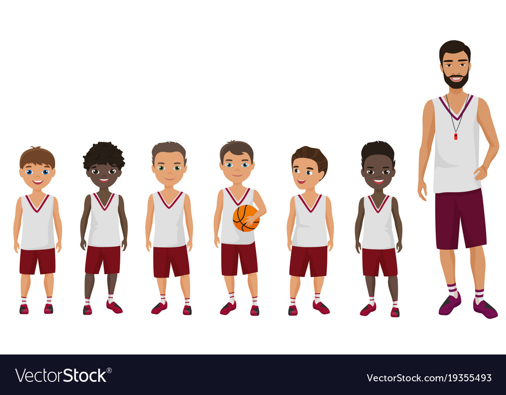 Cartoon flat school boys basketball kids