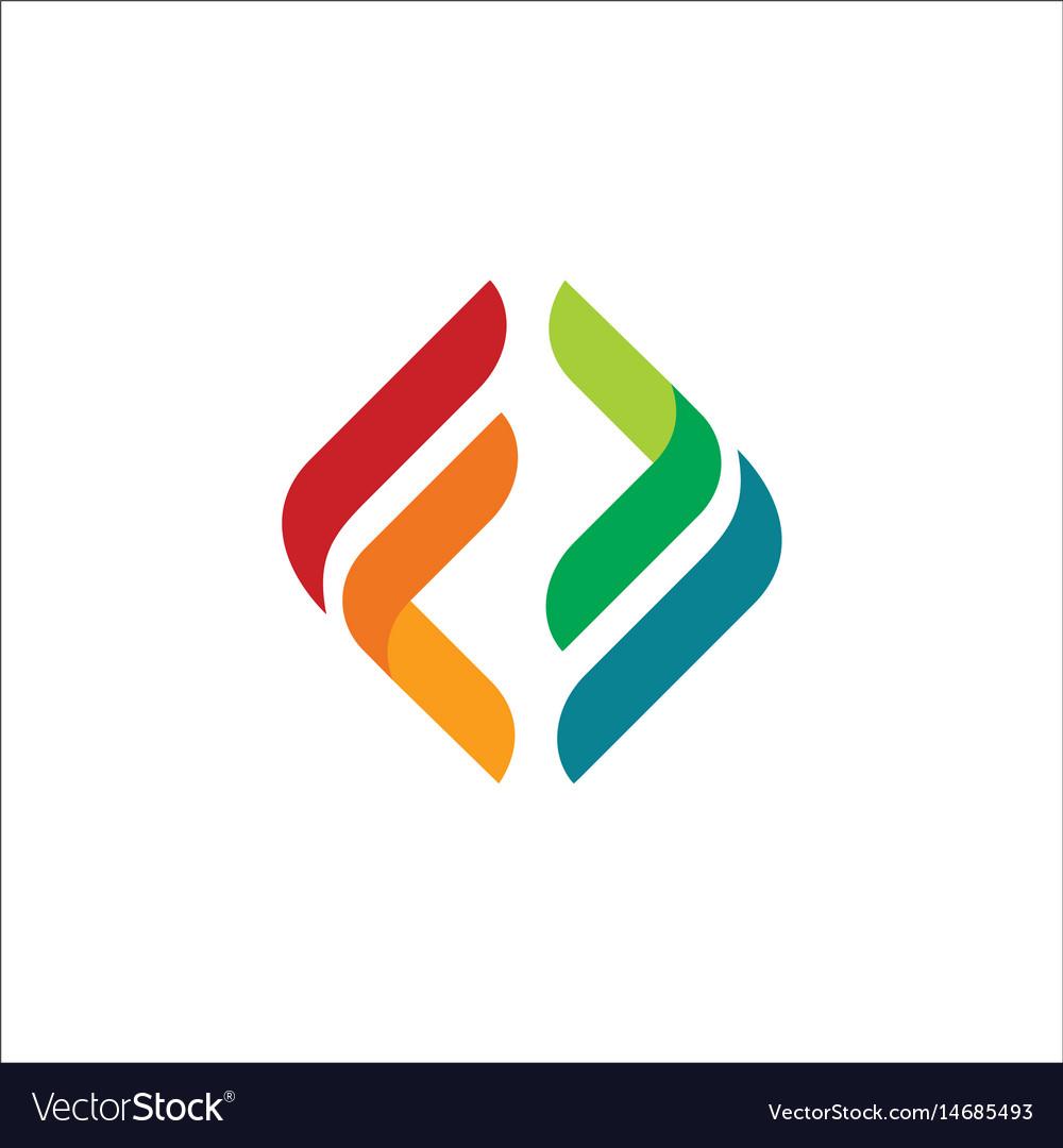 Circle shape colored square logo