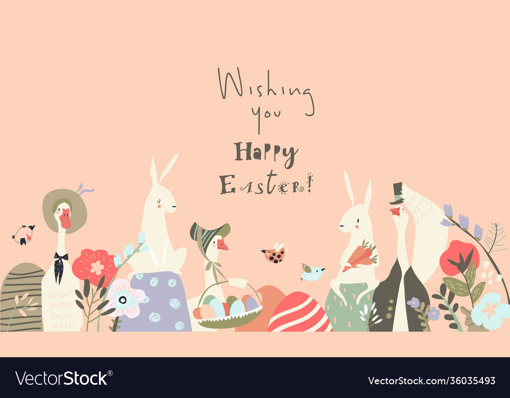 Cute cartoon bunnies and gooses with easter eggs