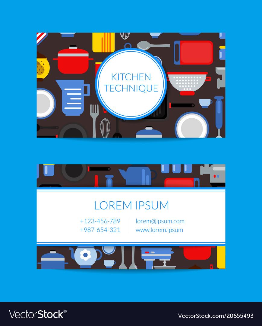 Flat style kitchen utensils card template