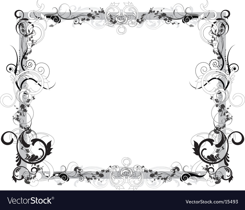 Flower Black And White Frame Royalty Free Vector Image