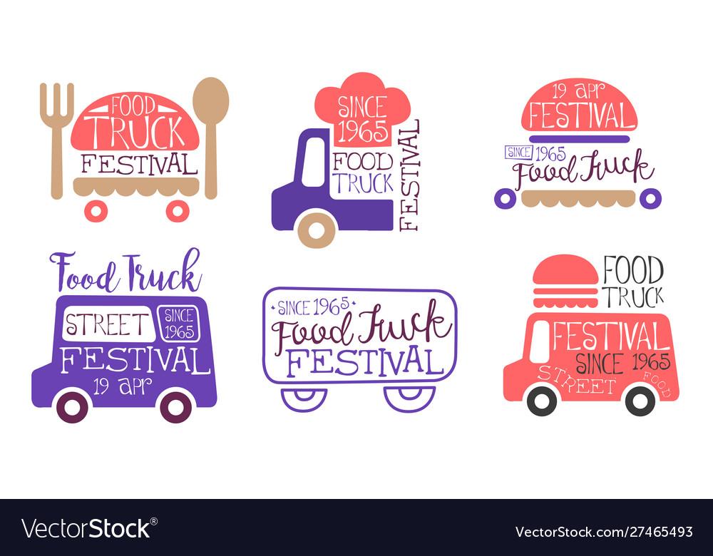 Food truck festival labels set street food