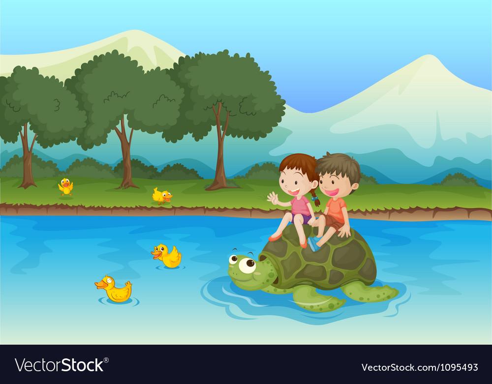 Kids on tortoise vector image