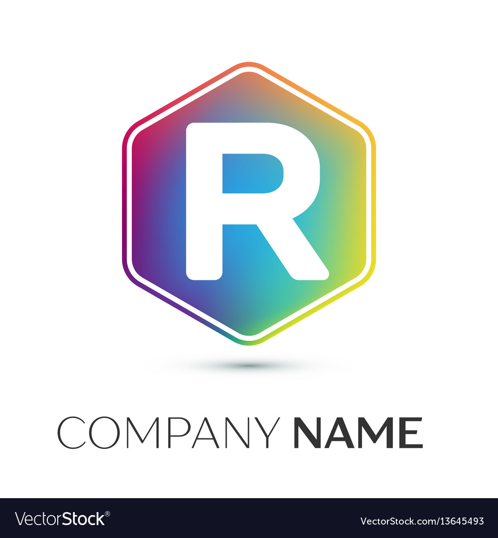 Letter r logo symbol in the colorful hexagonal on