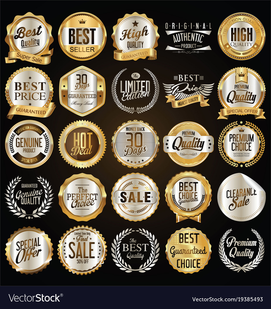 Retro vintage gold and silver badges vector image