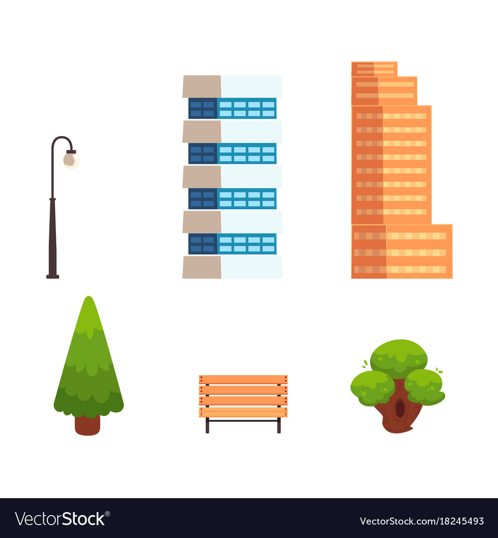Set of flat style city town elements