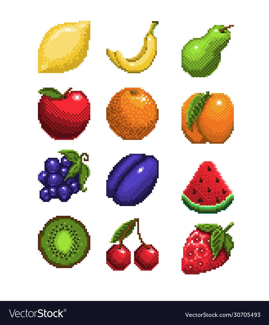 Set Pixel Art Fruits Icon 32x32 Pixels Royalty Free Vector