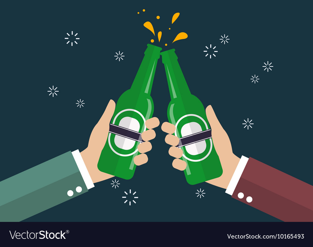Two businessmen toasting bottle of beer