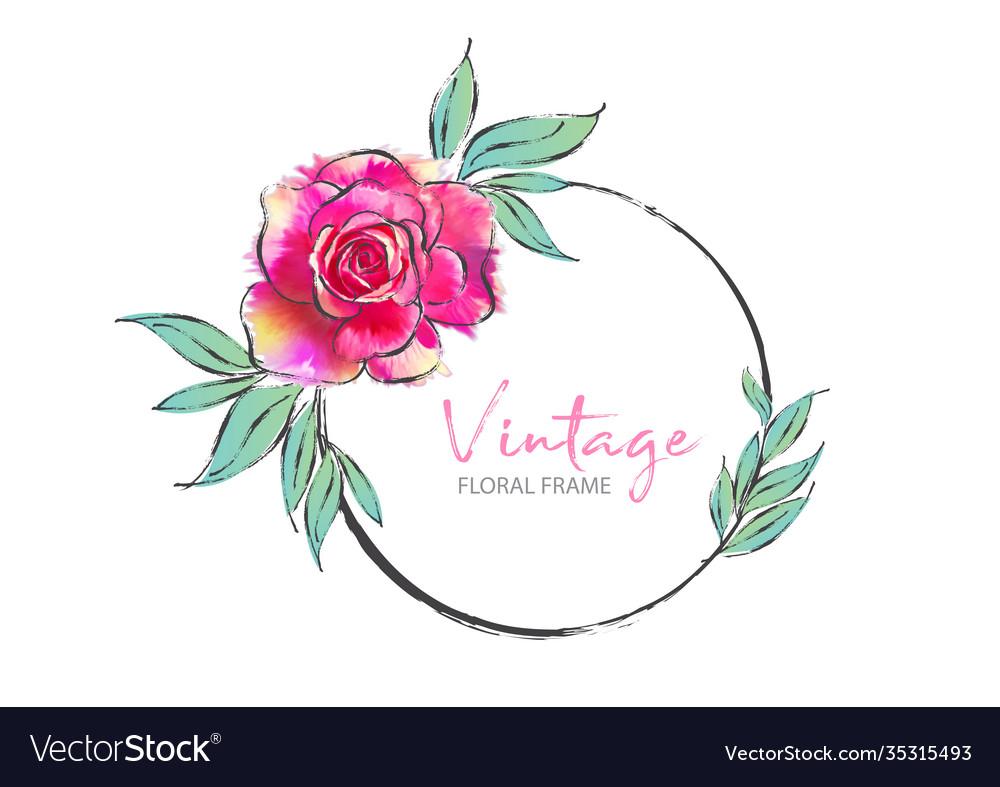 Vintage round frame with pink rose
