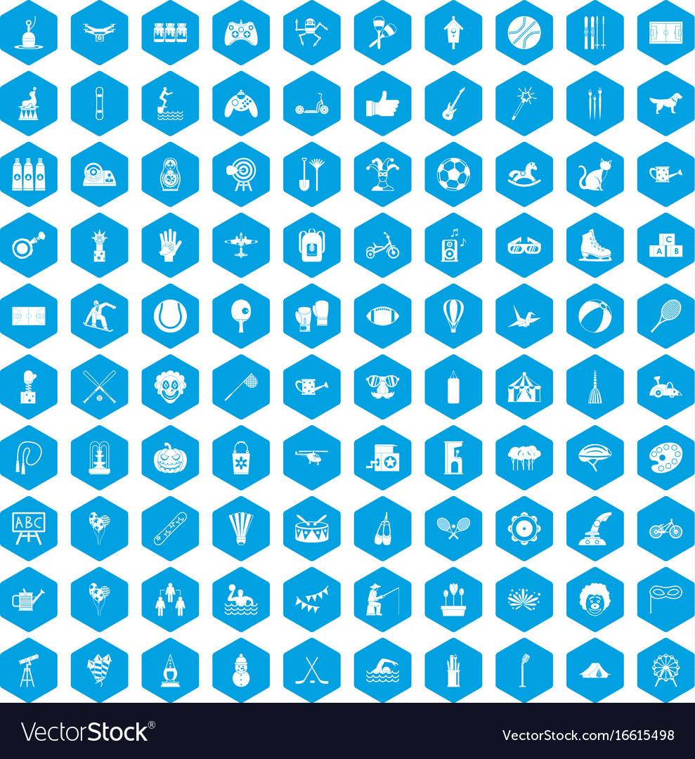 100 kids activity icons set blue vector image
