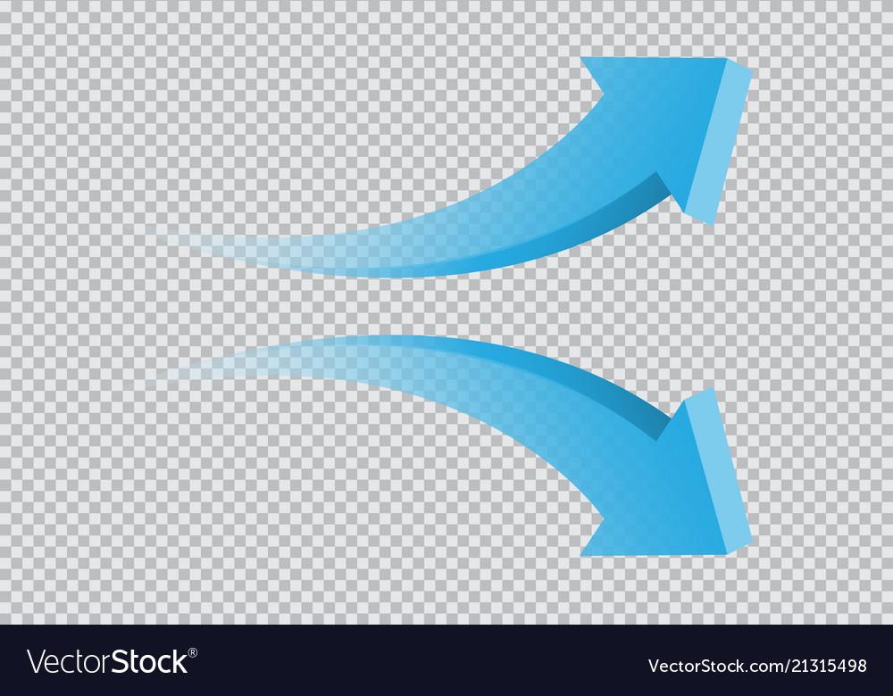 Blue twin arrow 3d curve direction gradient
