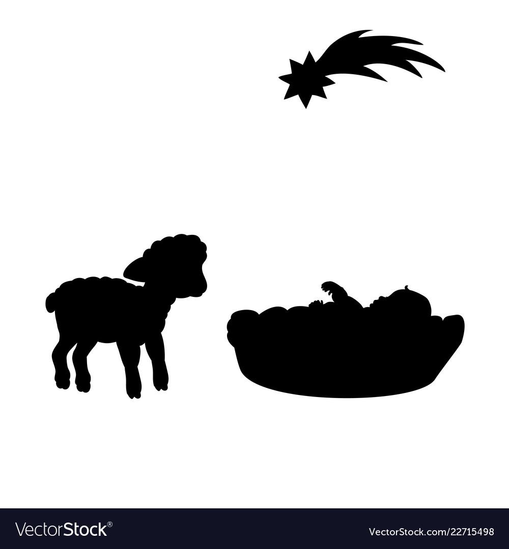 Christmas silhouette baby and lamb christmas