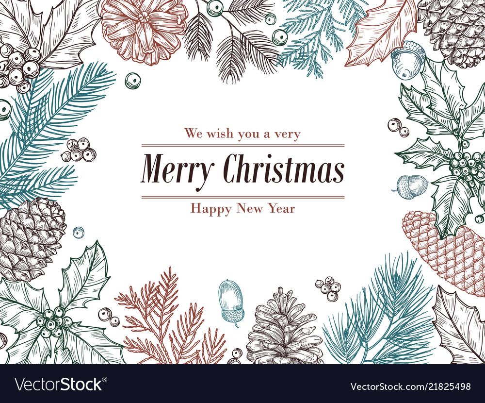 christmas vintage invitation winter fir pine vector image
