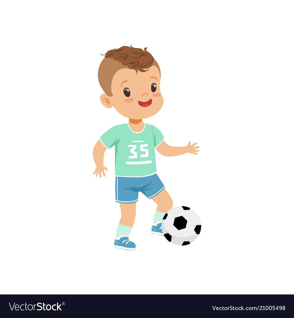 Cute little boy character kicking soccer ball vector image