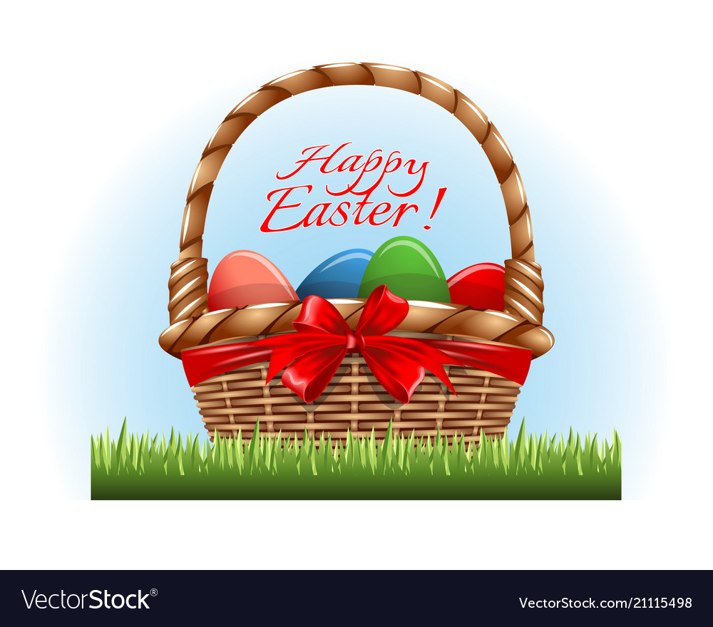Easter eggs in the wooden basket and red bow