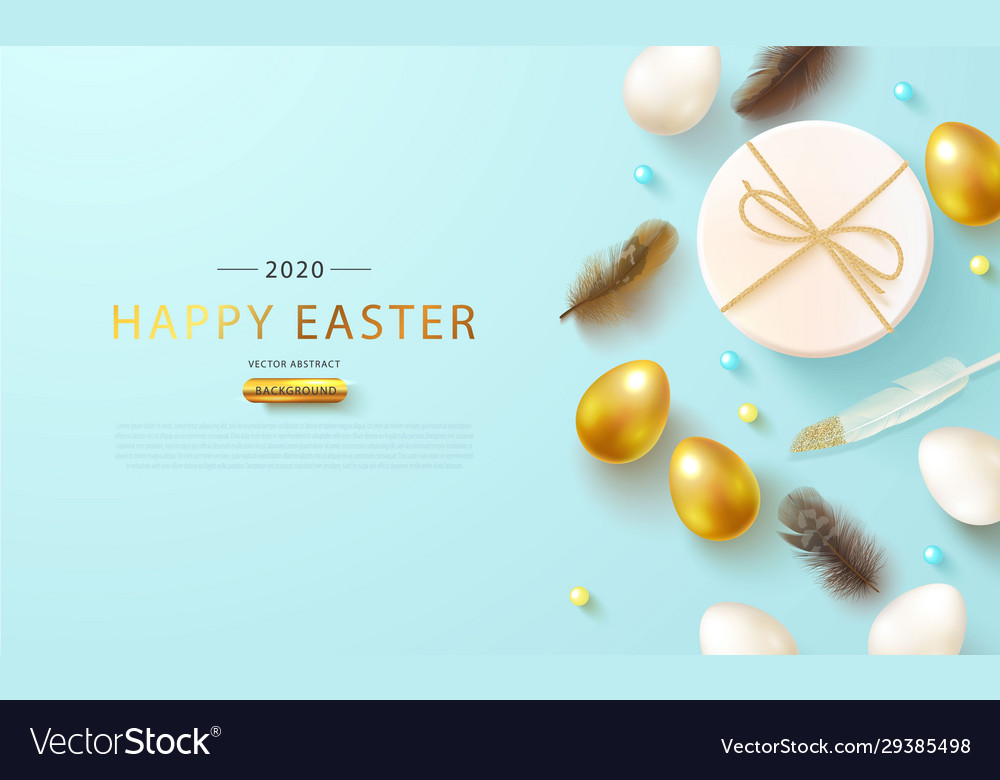 Easter eggsgift box and feathers on blue