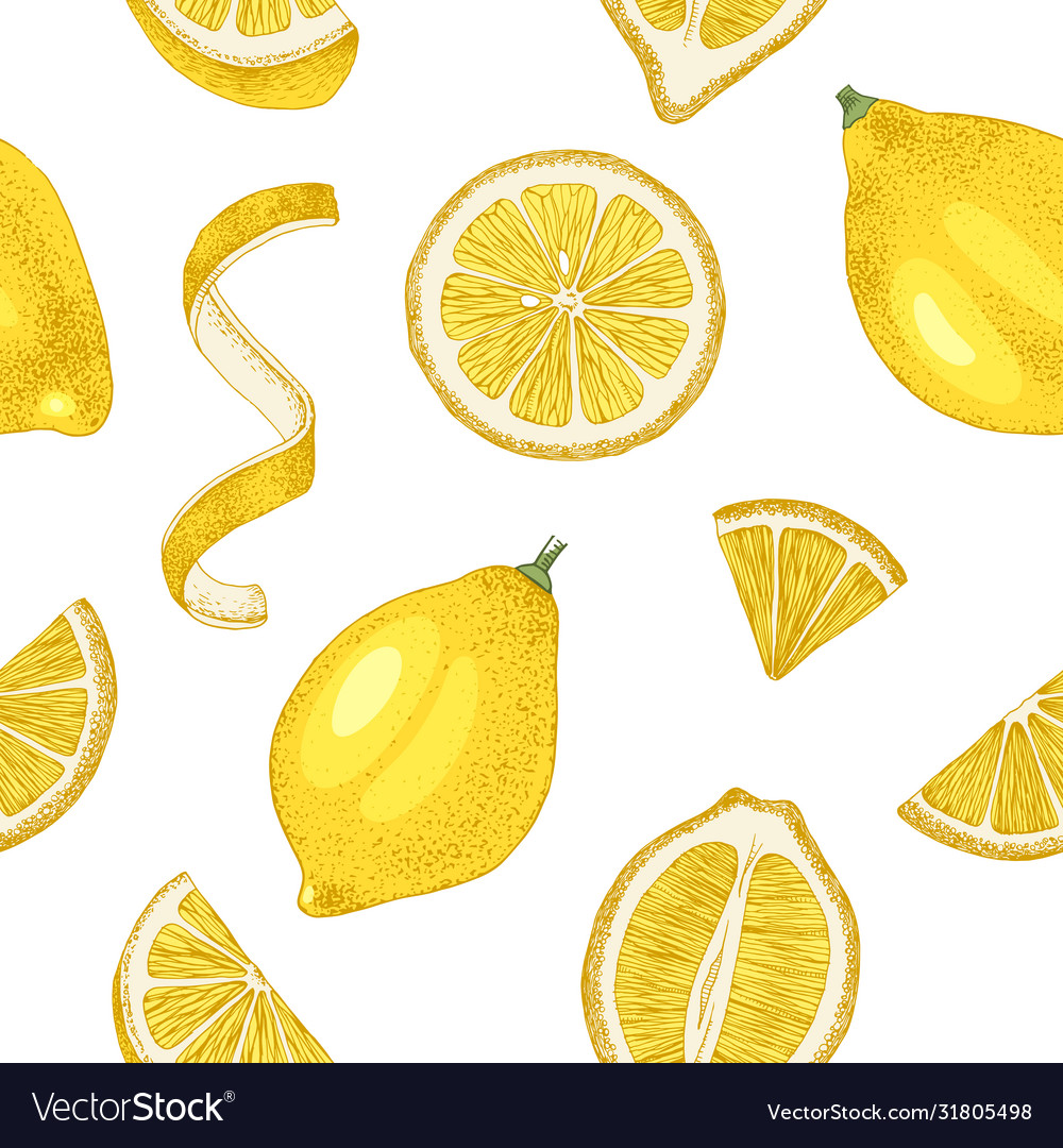 Hand drawn seamless pattern with lemons