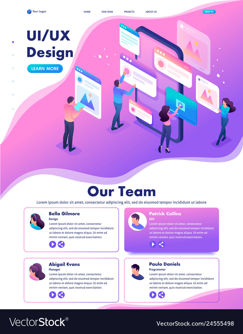 Isometric process of creating application design