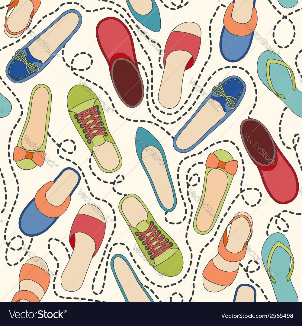 Seamless pattern with colored shoes and dashed lin