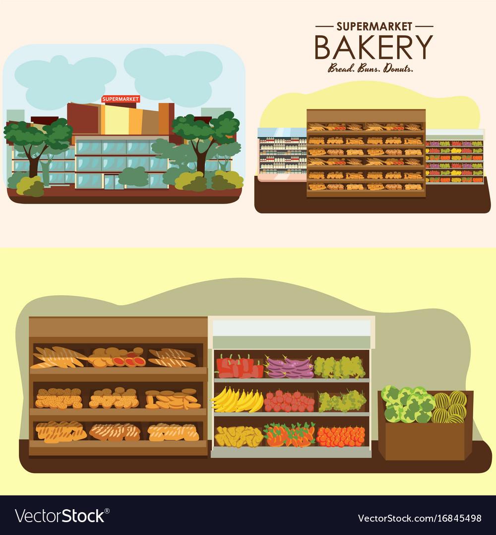 Set of supermarket departments fruit food store