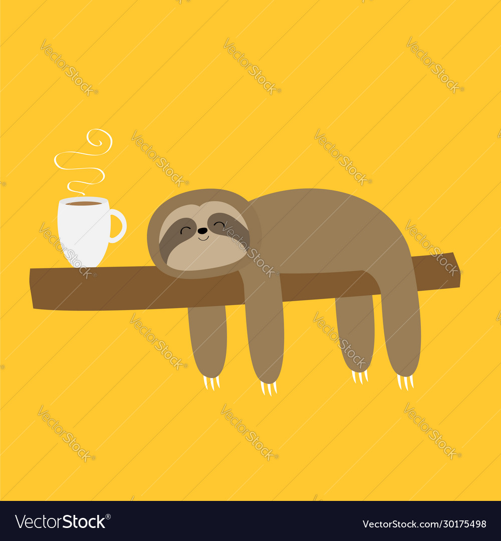 Sloth Sleeping On Tree Branch I Love Coffee Cup Vector Image