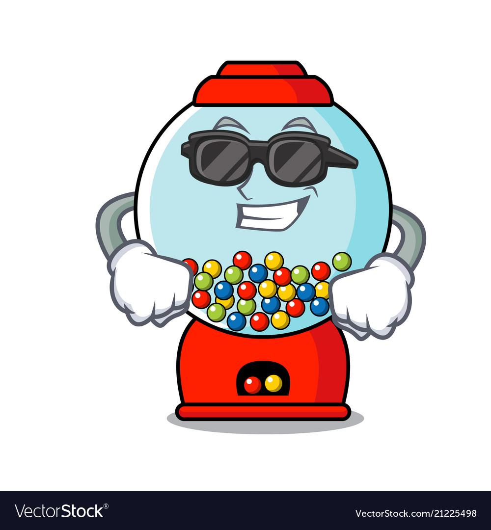 super cool gumball machine character cartoon vector image