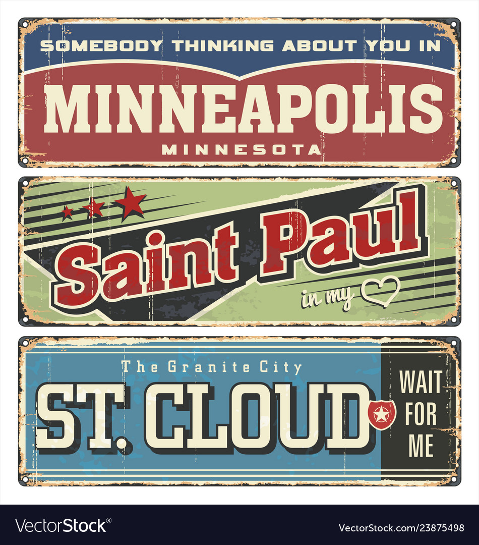 Vintage tin sign collection with usa cities