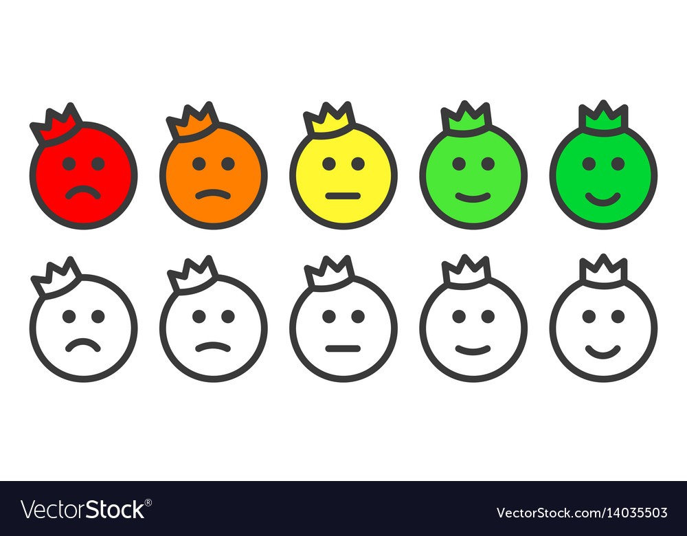 Emoji prince icons for rate of satisfaction level vector image
