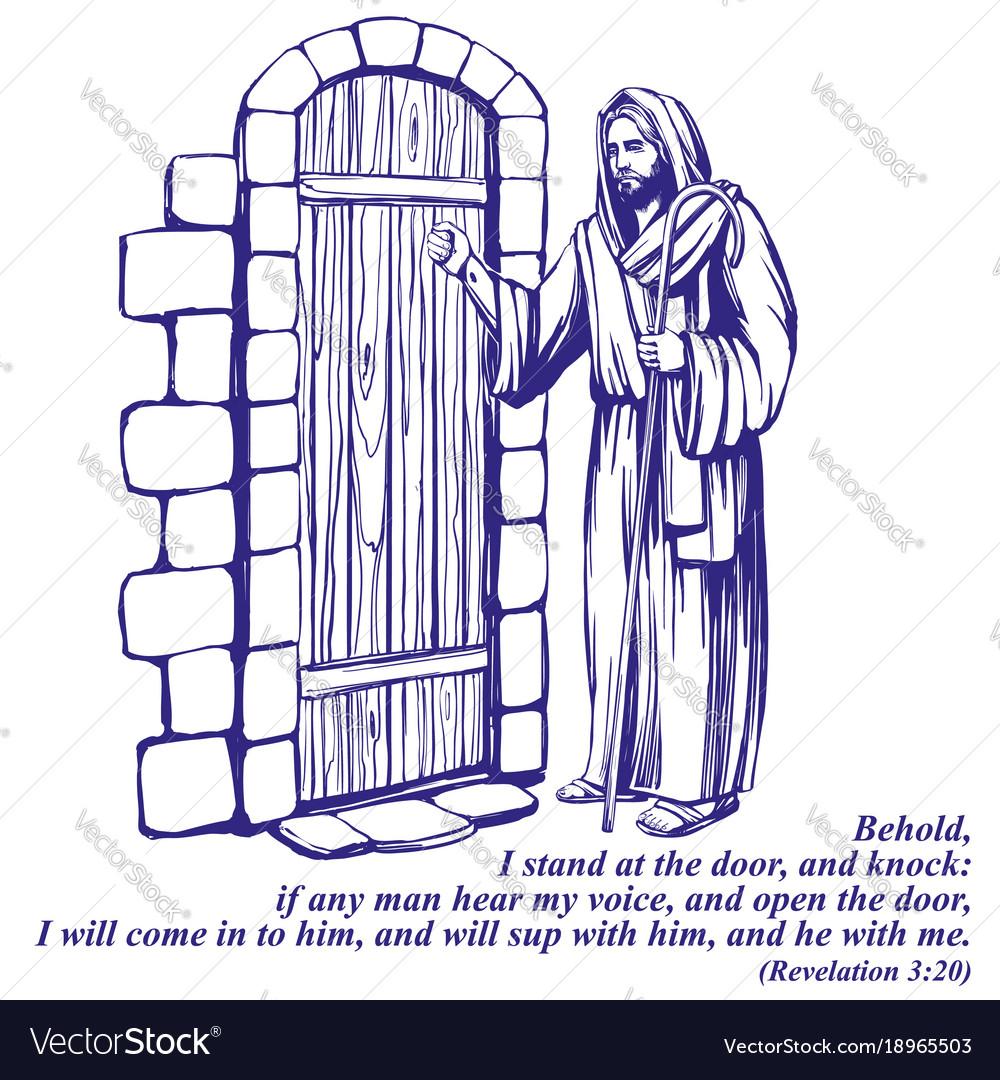 Jesus christ son of god knocking at the door vector image altavistaventures Gallery