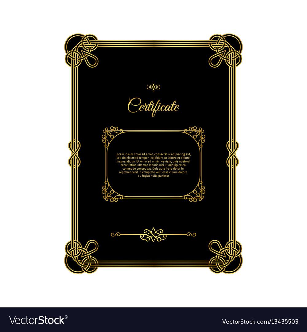 Retro golden frame certificate on black