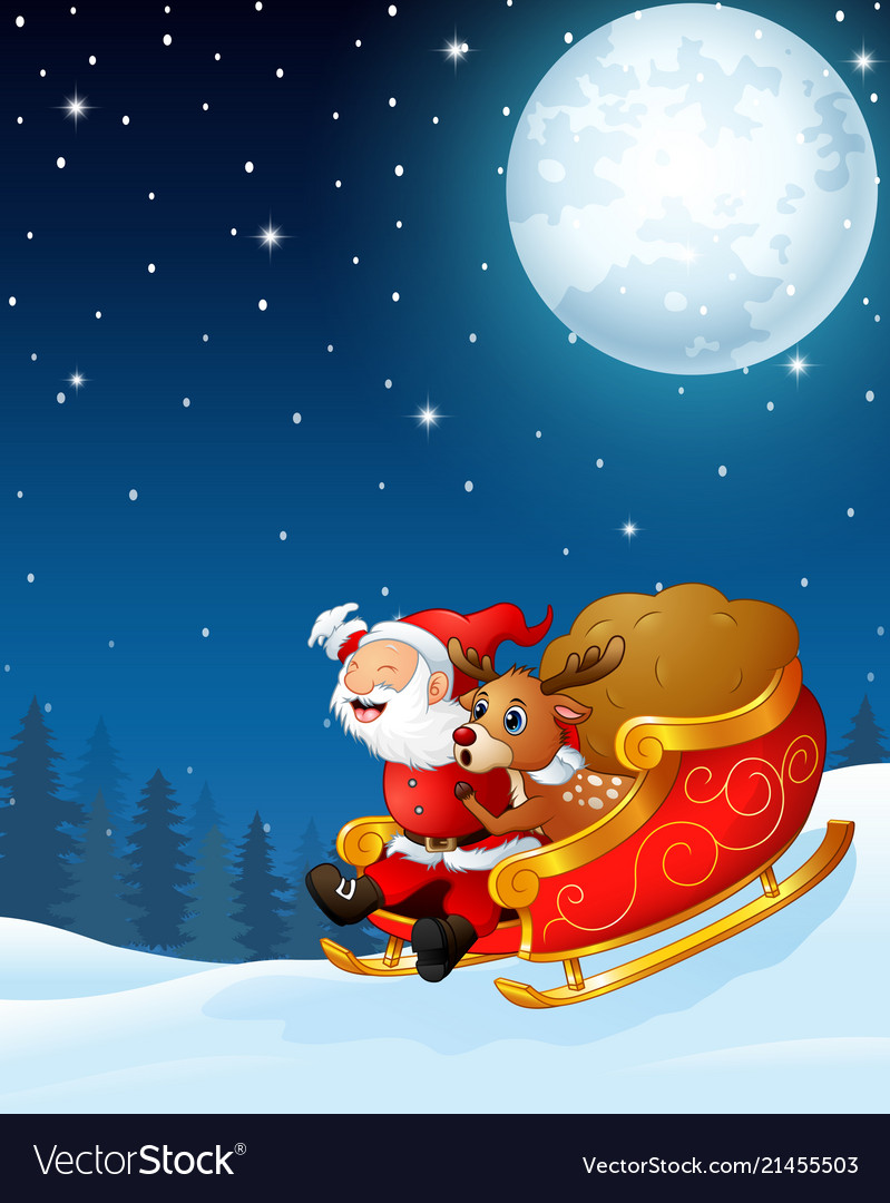 Santa Claus And A Reindeer Riding His Sleigh And C