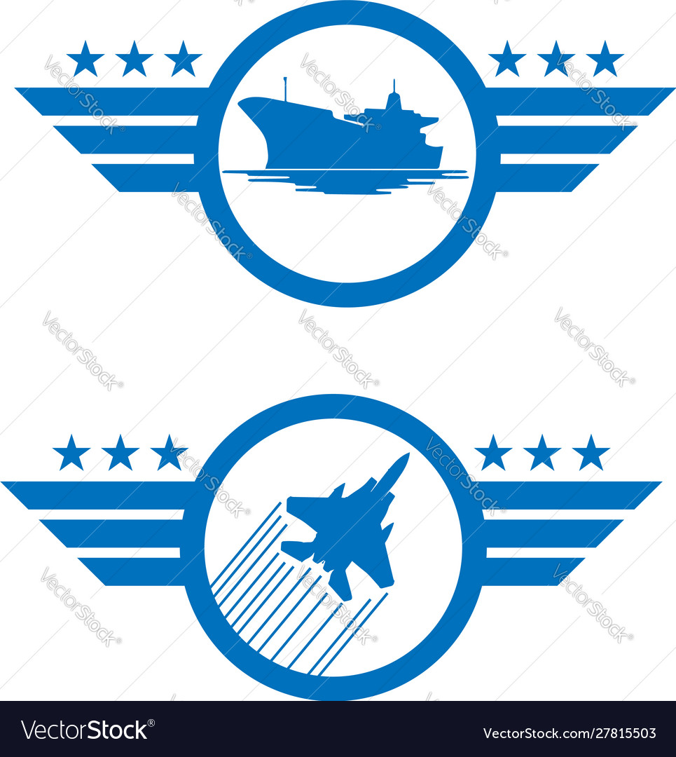Set air force and navy logos in blue de