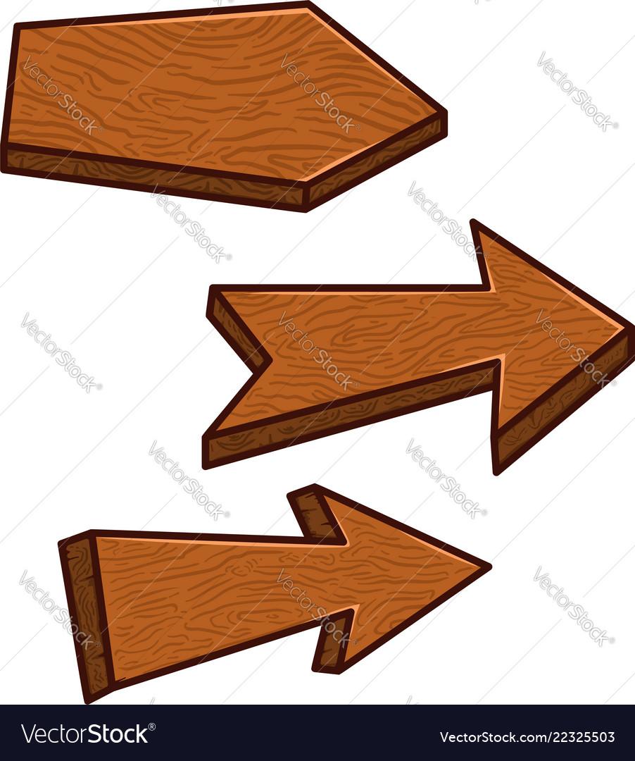 Set of cartoon wooden boards design element for