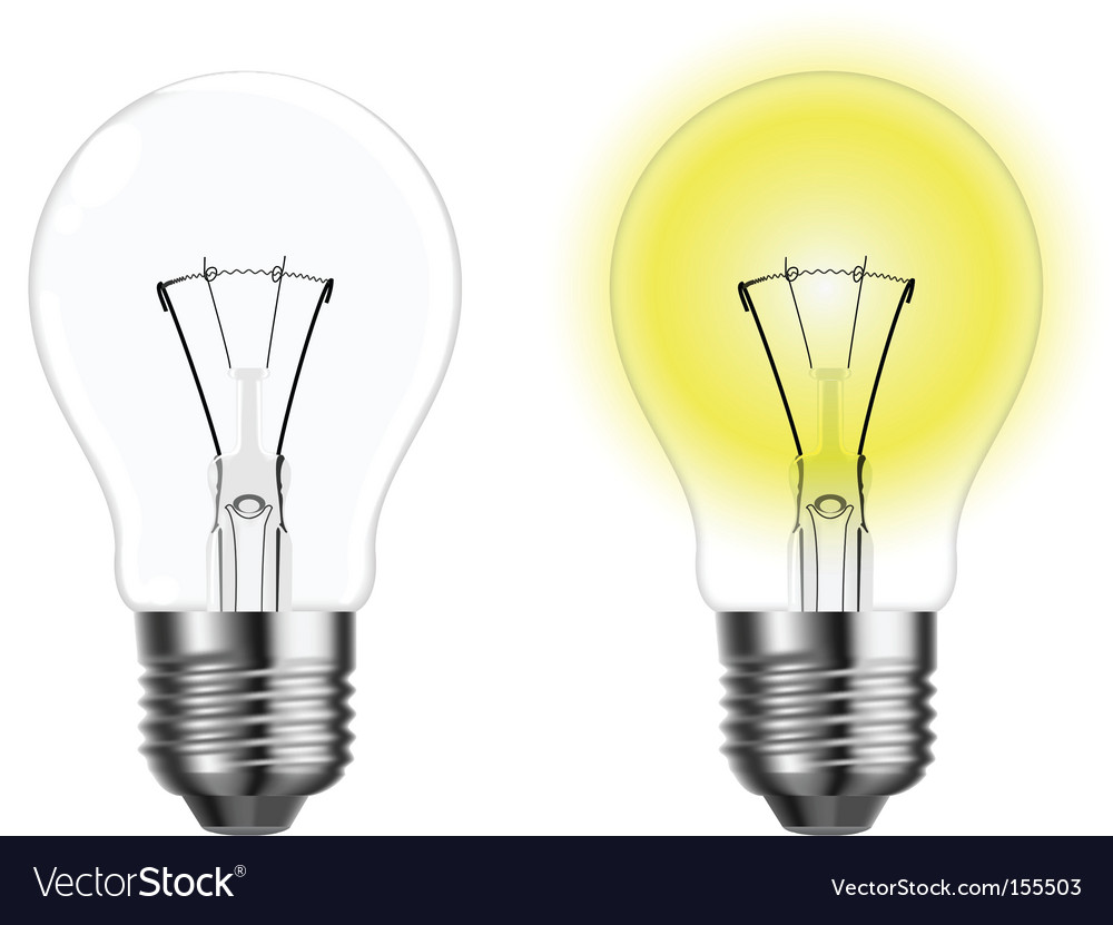 Two light bulbs royalty free vector image vectorstock