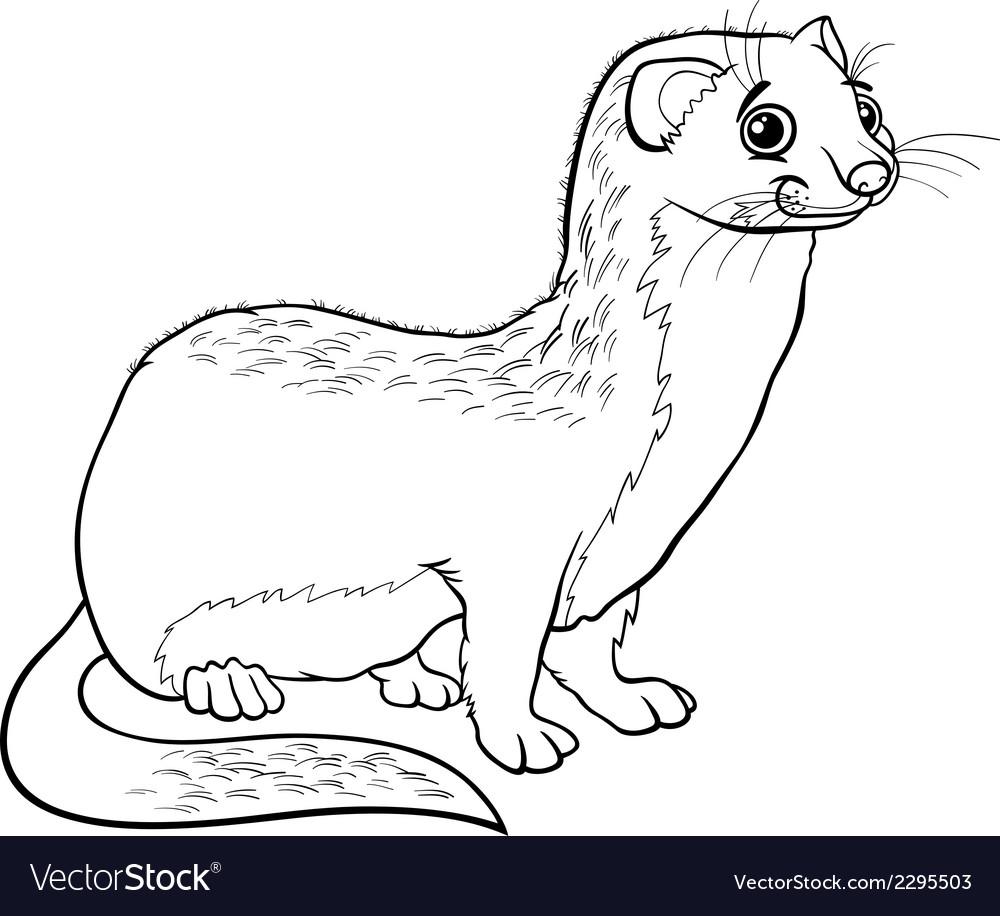 Weasel animal cartoon coloring book