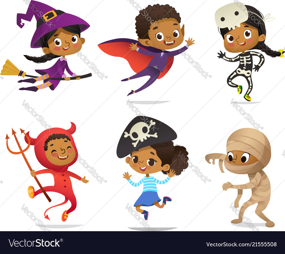 African-american set of boys and girls wearing