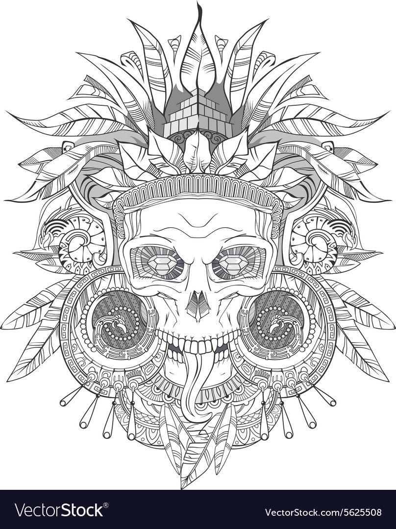 aztec indian skull royalty free vector image vectorstock