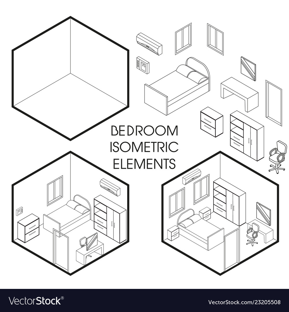 Bedroom interior creator isometric thin