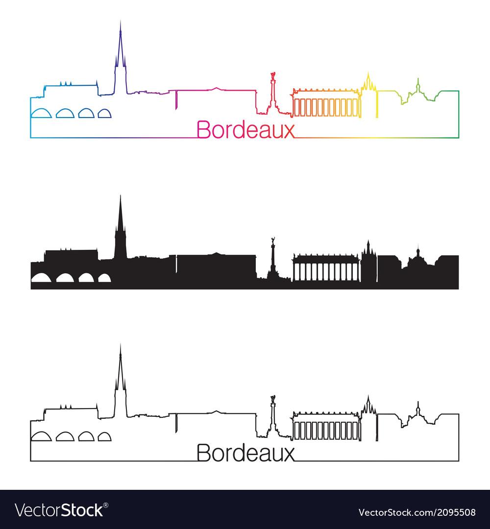 Bordeaux skyline linear style with rainbow