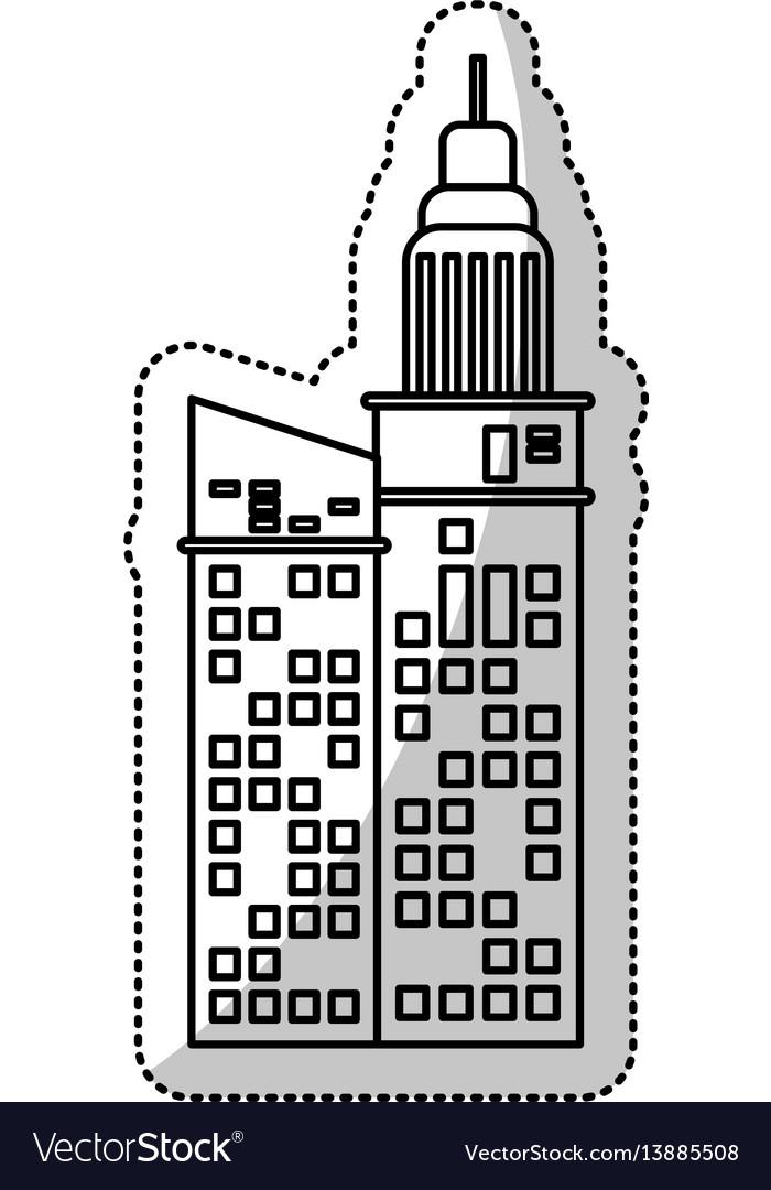 Building business facade cut line