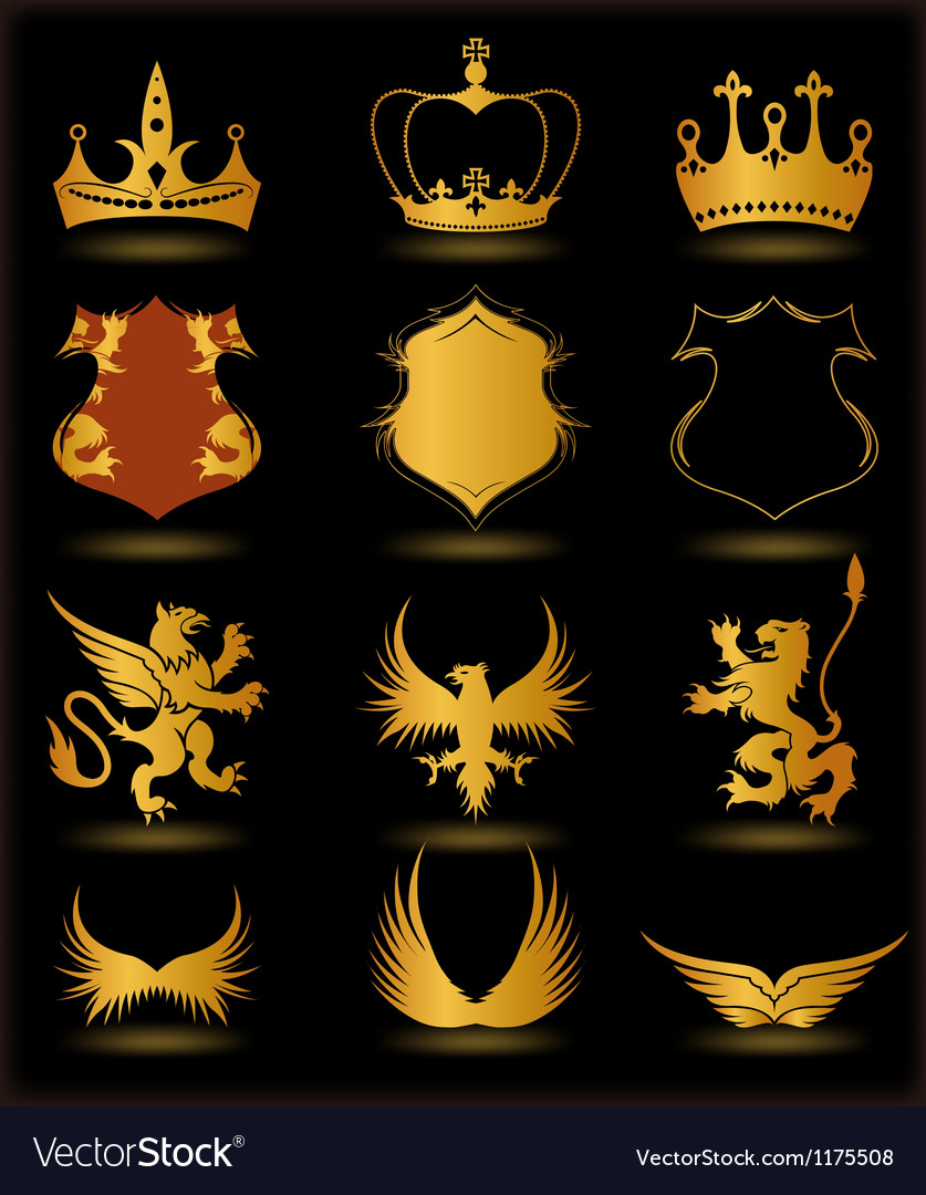 Collection heraldic gold elements on black