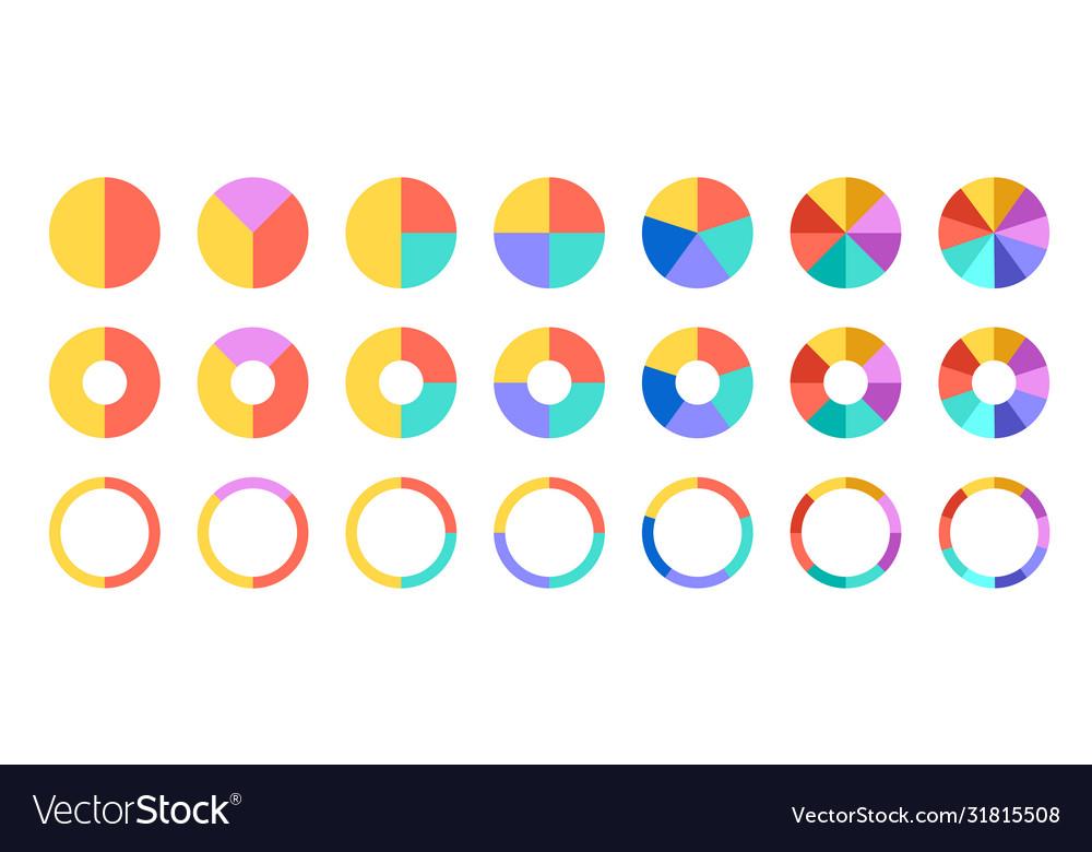 Colorful pie and donut charts circle chart circle