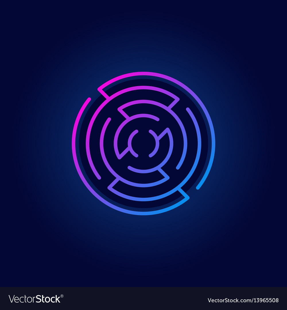 Colorful round maze line icon