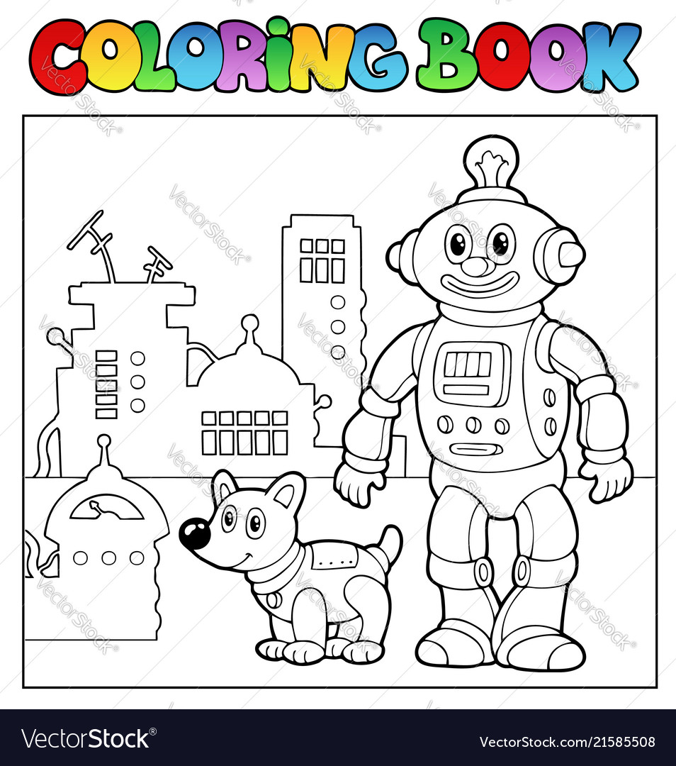 Coloring book robot theme 1 Royalty Free Vector Image